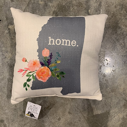 Grey Home State (ms) Pink Flower -Mississippi Made Pillow
