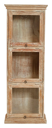 """48""""H 3-Section Mango Wood Cabinet with 3 Top Hing Glass Doors  DF2261"""
