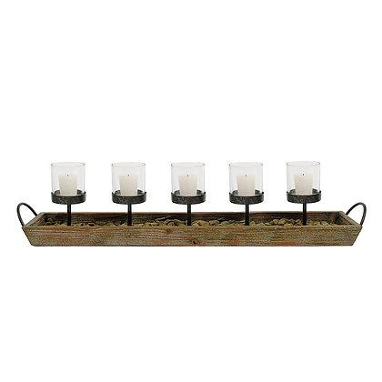 5 Metal Votive Candleholders in Rectangle Wood Tray w/Handles  DE1803