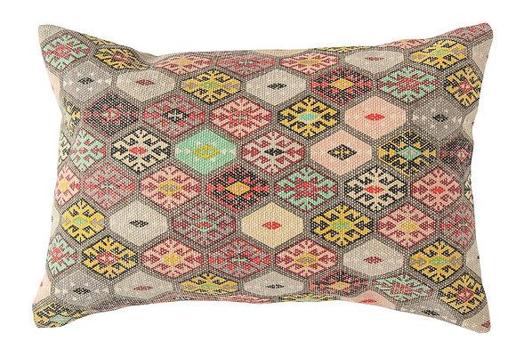 Multicolor Cotton Dhurrie Lumbar Pillow DF2142