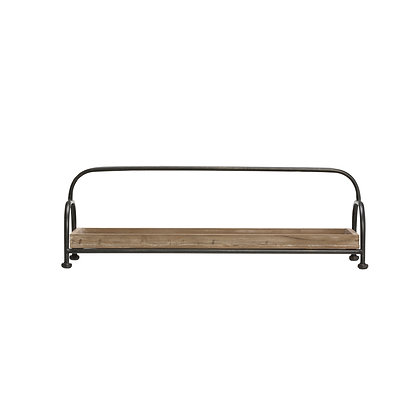 Rectangle Brown Wood Tray with Black Metal Stand DF1811