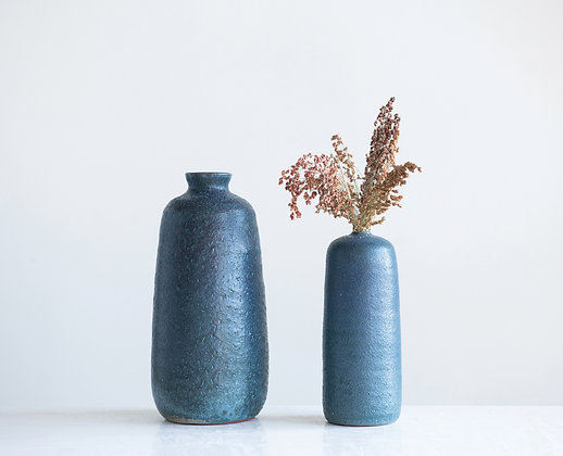 Textured Large Matte Blue Terracotta Vase w/Reactive Glaze Finish DF1856