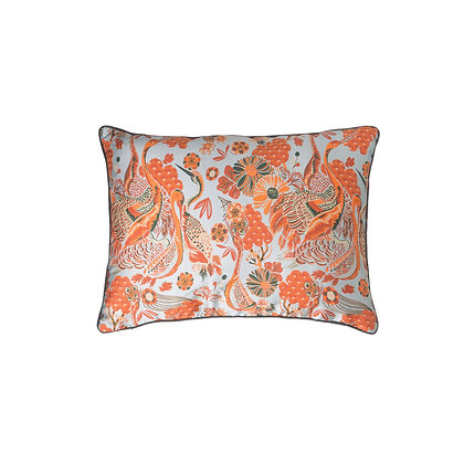 Reversible Blue & Orange Floral Cotton Blend Lumbar Pillow w/Crane Image DF1598