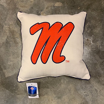 Ole Miss Piped -Mississippi Made Pillow