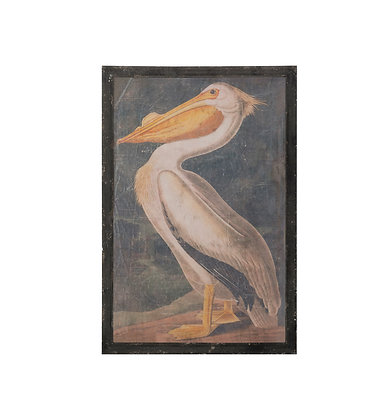 Vintage Pelican Wall Art with Distressed Black Wood Frame Df2011