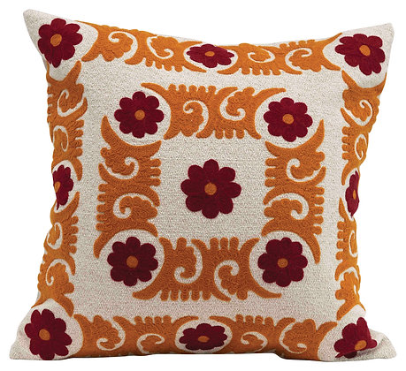 Square Floral Embroidered Cotton Pillow DF2343