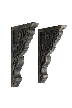 Black Wood Corbels with Heavily Distressed Finish (Set of 2) DF0975
