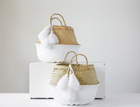 Beige & White Palm Leaf Baskets with Large Tassels (Set of 2 Sizes) DA8704