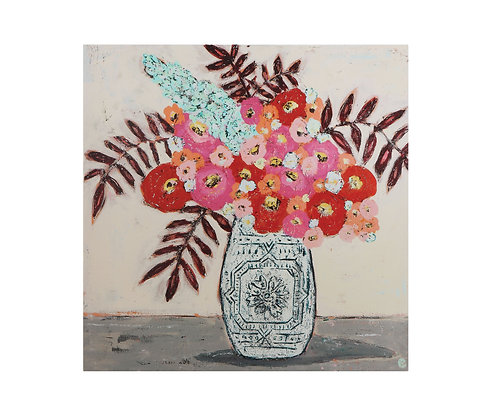 Red & Pink Flowers in Vase Canvas Wall Décor DF1119