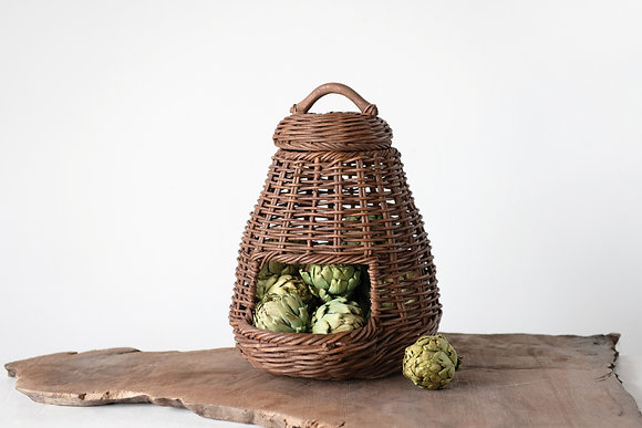 "14"" Handwoven Wicker Vegetable Basket with Lid"