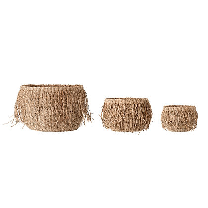 "6"", 8"" & 11.75"" Handwoven Seagrass Baskets w/Fringe (Set of 3 Sizes) DF3086"