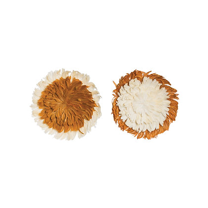 Rust Orange & Cream Feather Wall Décor (Set of 2 Styles) DF1948A