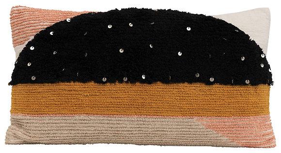 Rectangle Multi-Textured Cotton Lumbar Pillow with Geometric Shapes DF2415