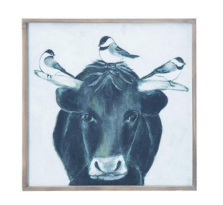 Bull with Birds on Canvas in Wood Frame Wall Décor  DF1120
