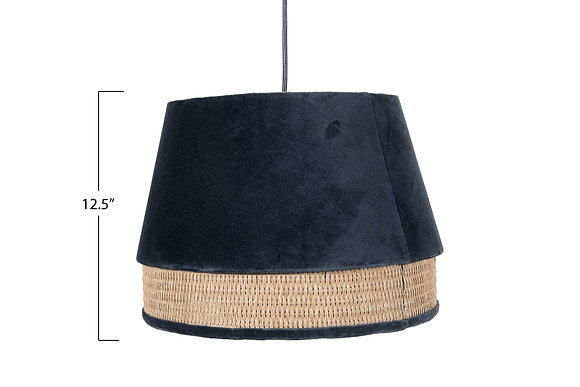 Charcoal Cotton Velvet & Cane Pendant Light DF2197