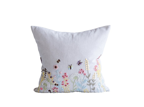 Square White Cotton Pillow w/Embroidered Multicolor French Knot Flowers  DA9892