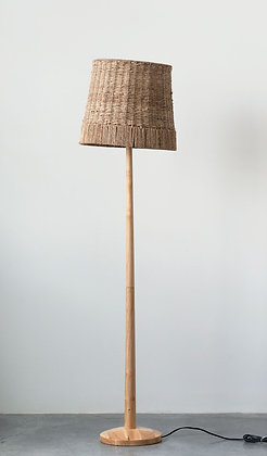 Wood Floor Lamp with Hand-Knit Hemp Rope Shade DF1329