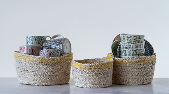Maize Baskets with Yellow Stitching (Set of 3 Sizes) DF0845
