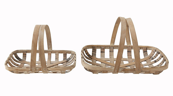 Wood Tobacco Baskets with Handles (Set of 2 Sizes) DF0237