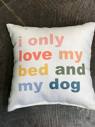 Pillow - i only Love my bed and my dog colorful - Made in MS