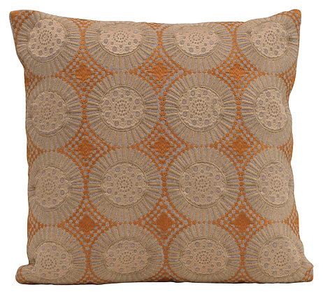 Square Embroidered Geometric Pattern Cotton Pillow DF2345