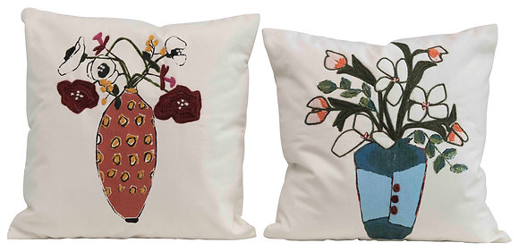 Square Flowers in Vase Embroidered Cotton Pillow (2 styles) DF2394A