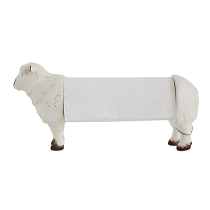 Distressed White Resin Sheep Paper Towel Holder DA7289