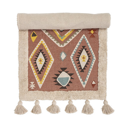 2' x 4' Multicolor Cotton Kilim Rug with Southwestern Pattern & Tassels