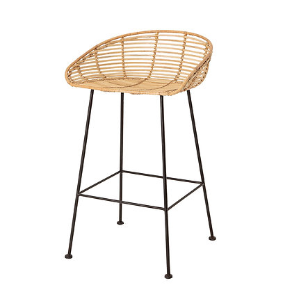 """32""""H Woven Rattan Bar Stool with Black Wrought Iron Legs"""