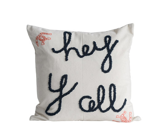 "Embroidered ""hey y all"" Square Cotton Pillow DA9904"