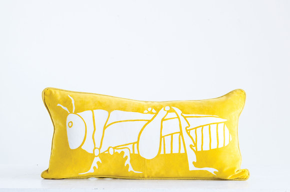 Bright Yellow Cotton Velvet Pillow with White Grasshopper Image DF0519