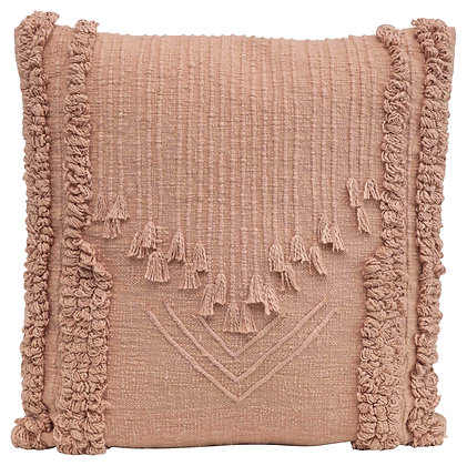 Square Cotton Embroidered Pillow w/Looped Stripes & Decorative Tassels DF2409
