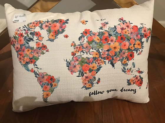 Pillow - Follow Your Dreams World Map. Bright Watercolor - Made in MS