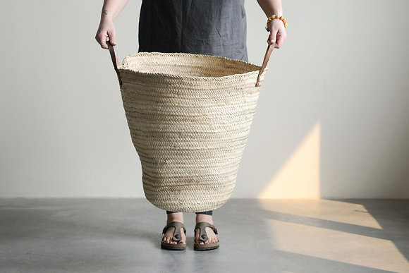 Oversized Handwoven Moroccan Basket with Leather Handles DA8844
