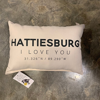 Hattiesburg, I LOVE YOU Mississippi Made Pillow