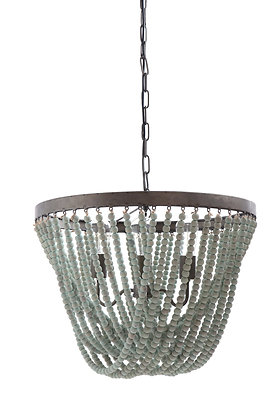 Metal Chandelier with Aqua Wood Beads DA8264