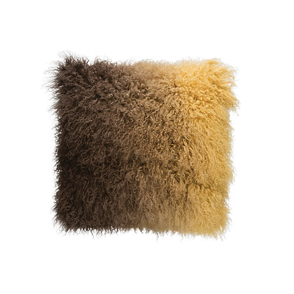 Brown Ombre Tibetan Lamb Fur Pillow DF1926