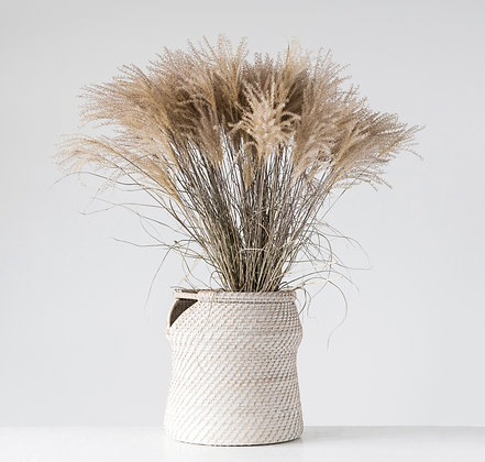 Handwoven Whitewashed Rattan Basket with Handles