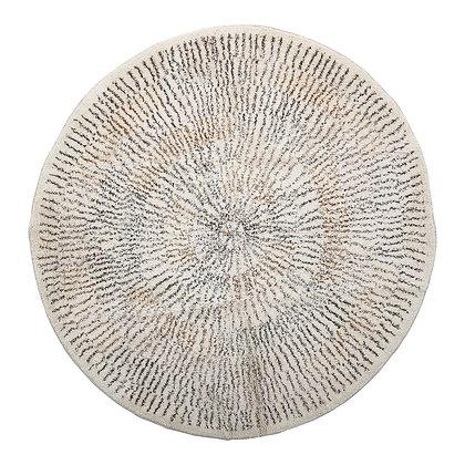 4' Round Cotton Printed Rug with Starburst Design