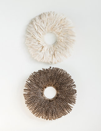 Round Feather & Bamboo Wall Decor (Set of 2 Colors) DF1892A