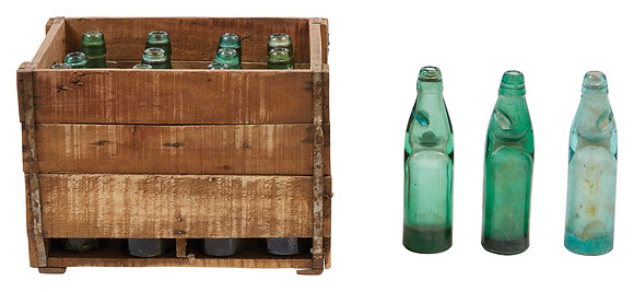 13 Found Recycled Glass Banta Soda Bottles in Wood Crate (Each varies) DF2221