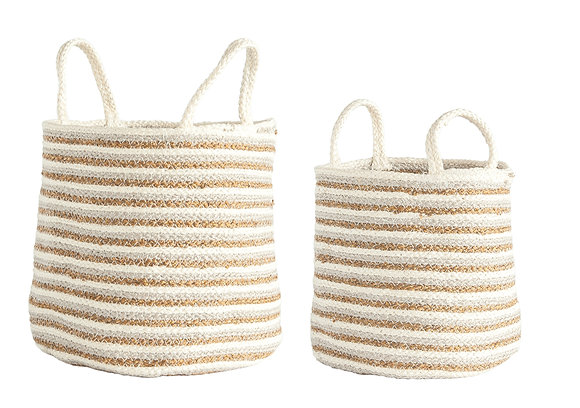 Braided Cotton & Jute Baskets w/Beige/Gold Stripes & Handles (Set of 2)  DF1785