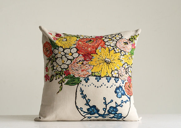 Cream Square Cotton Pillow w/Red, Yellow & Blue Embroidered Floral Design DF9075