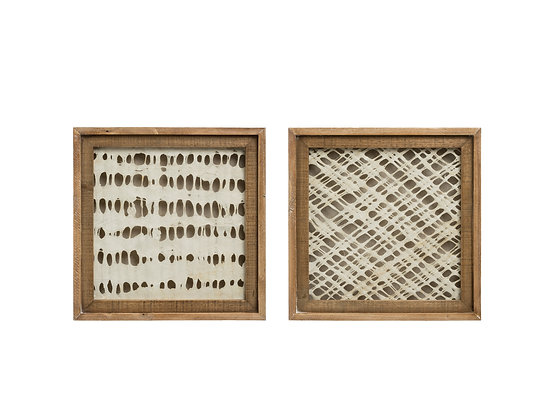Handmade Paper Wall Décor with Square Wood Frame (Set of 2 Sty DF1814Ales)