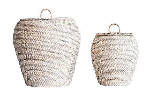 Whitewashed Rattan Baskets with Lids (Set of 2 Sizes)