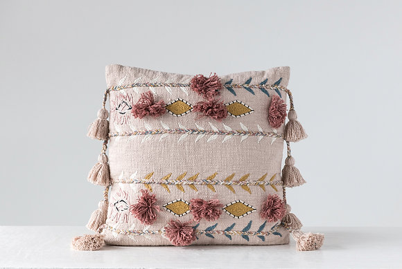 Embroidered & Appliqued Pink Cotton Pillow with Pom Poms & Tassels DF1632