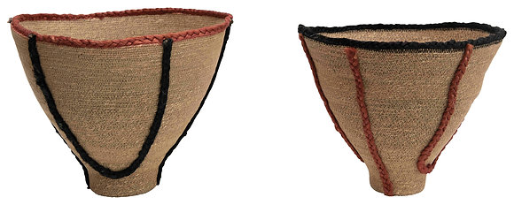 """15"""" & 16"""" Handwoven Natural Seagrass Baskets with Jute Trim (Set of 2) DF2458"""