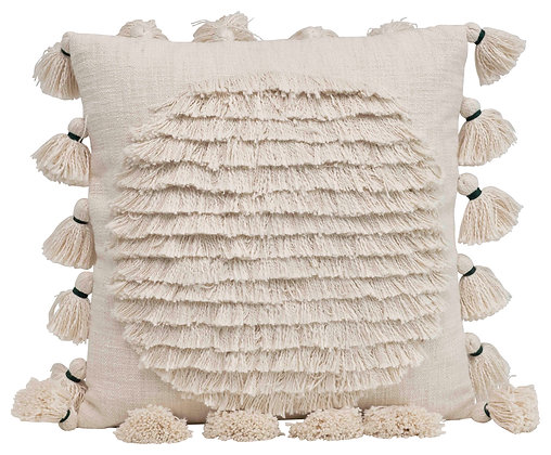 Square Cotton Embroidered Pillow w/Fringed Circle Design and Tassel Trim DF2411