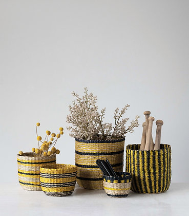 Handwoven Seagrass Striped Baskets (Set of 5 Sizes/Patterns) DF3063