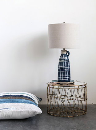 Stoneware Table Lamp with Embossed Grid Pattern, Decorative Handle & Linen Shade